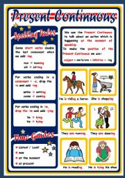 English Worksheets: PRESENT CONTINUOUS - POSTER