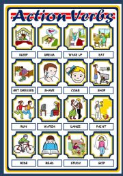 English Worksheet: ACTION VERBS - POSTER