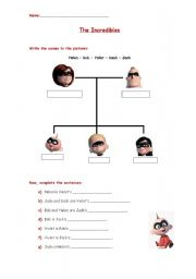 English Worksheets: The Incredibles - family tree
