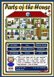 English Worksheet: PARTS OF THE HOUSE - POSTER