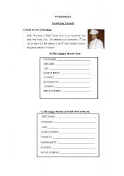 English Worksheets: Identifying Yourself