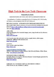 English Worksheets: High Tech in Low Tech Search_Engines_and_ESL_Resources