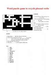 English Worksheet: Word puzzle game to recycle phrasal verbs