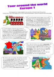 English Worksheet: Tour around the world 1/2 - Talk, read and find the correct answer