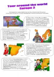 English Worksheets: Tour around the world 2/2 - read, speak and choose the correct versions