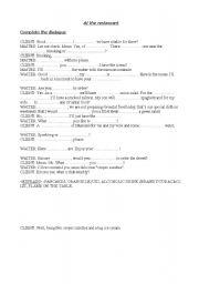 English worksheet: at a restaurant