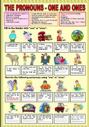 English Worksheet: The Pronouns - one and ones