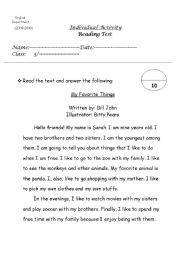 English Worksheets: My Favorite thing