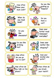 present simple-question cards(3 pages-36 cards)
