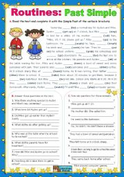 English Worksheet: Routines:  Past Simple   (Context - School Day)