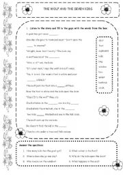 english worksheet the wolf and the seven kids. Black Bedroom Furniture Sets. Home Design Ideas
