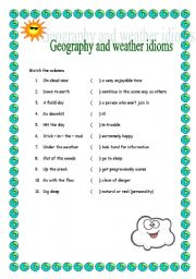 English Worksheets: Geography and weather idioms