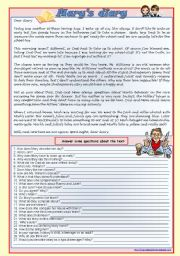 English Worksheet: Mary´s diary (reading comprehension, genitive, verb tenses, comparatives, conditionals 1 and 2) ***fully editable ((4 pages))