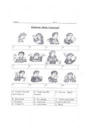 English Worksheet: Gestures