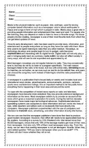 English Worksheets: Early Media