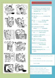 English Worksheet: Daily routine simple present tense