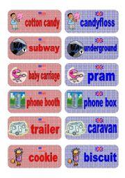 English Worksheet: British English vs American English memory game - set 4