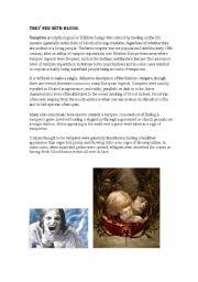 English Worksheet: vampires
