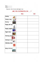 English Worksheets: Are you interested in...?