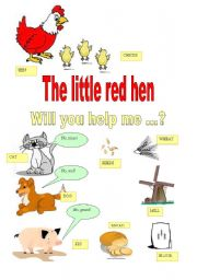 picture relating to The Little Red Hen Story Printable identified as the tiny pink Rooster - ESL worksheet as a result of majcek