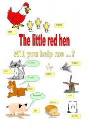 graphic regarding The Little Red Hen Story Printable titled the small crimson chicken - ESL worksheet via majcek