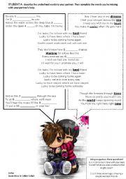 English Worksheets: Lucky Jason Mraz Student A