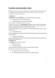 English Worksheet: transitive, intransiteve verb