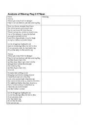 Worksheets Song Analysis Worksheet english worksheet waving flag analysis