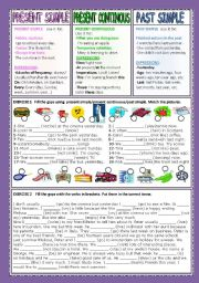English Worksheets: PRESENT SIMPLE/PRES. CONTINOUS/PAST SIMPLE