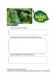 English Worksheet: A Bugs Life: Preview Sheet