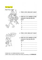 English Worksheets: The Bugs life: Post View Sheet