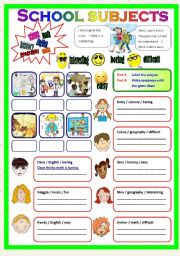 English teaching worksheets: School subjects