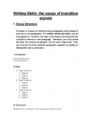 English Worksheets: WRITING SKILLS - THE USAGE OF TRANSITION SIGNALS (CONJUNCTIONS / ADVERBS)