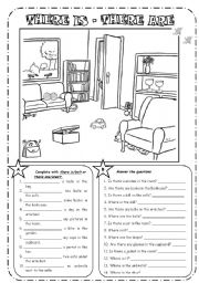 English Worksheet: THERE IS - THERE ARE + PREPOSITIONS - B&W