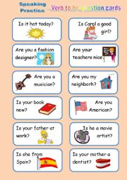 Verb to be Question Cards