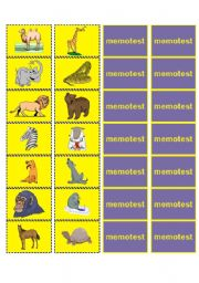 English Worksheets: Memotest on Animals