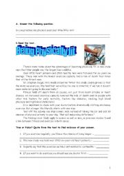 English Worksheet: Fitness and well being
