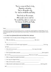English Worksheet: Guiness Book Of World Records Web Search