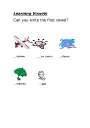 English Worksheets: Learning the Vowals