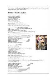 English Worksheet: Comparative Form - Song - Fighter by Christina Aguilera