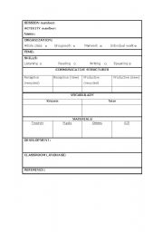 English Worksheets: Useful chart to plan your sessions (activity by activity)