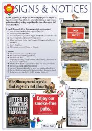 English Worksheet: SIGNS & NOTICES