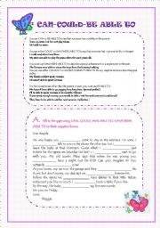 English Worksheet: CAN-COULD-BE ABLE TO