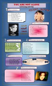 English Worksheets: YOU ARE NOT ALONE  MICHAEL JACKSON