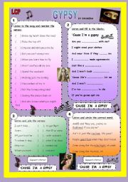 English Worksheet: LCP - Gypsy (Shakira)