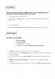 English Worksheets: Whether and If