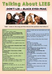 English Worksheets: SONG ACTIVITY - Don�t Lie (Black Eyed Peas) - Talking about Lies