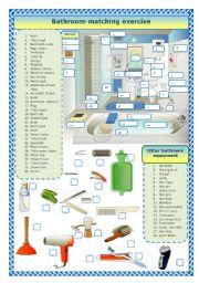 English Worksheet: Bathroom - matching exercise
