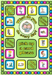 English Worksheet: What do you do every day?. Daily routines board game + cards + instructions. Fully editable.