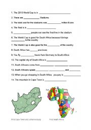 English Worksheet: Really simple South Africa and FIFA for beginners
